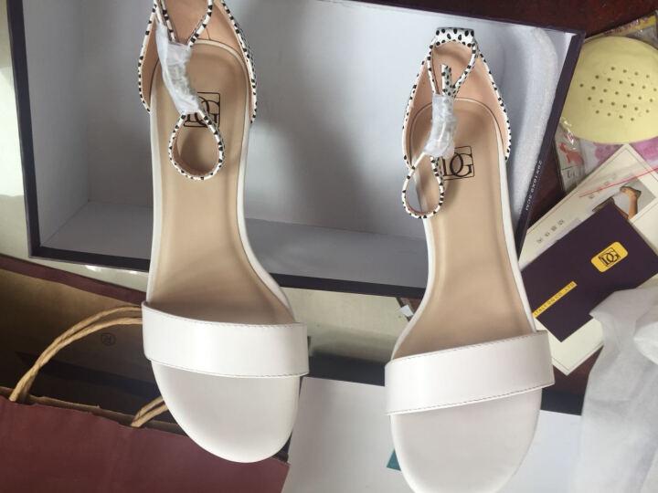 DG2018新款女士夏季真皮露趾粗跟鞋中空一字扣带中高跟凉鞋女白色 白色 37 晒单图
