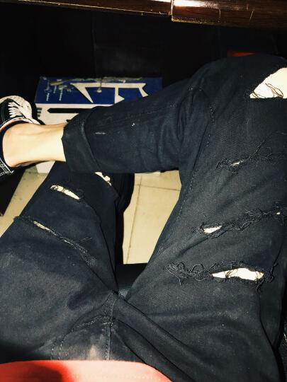 Waosai 九分裤男2018牛仔裤男夏新款休闲男士修身弹力破洞小脚裤子纯色哈伦裤子男潮 G07白色 28 晒单图