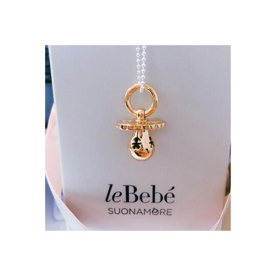leBebe珠宝 925银奶嘴项链镀9K玫瑰金钻石吊坠毛衣链孕妈礼物 晒单图