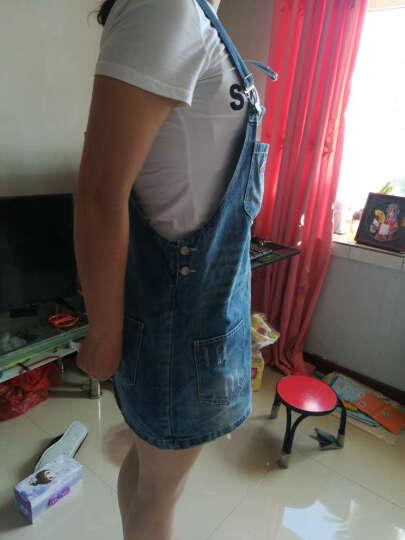韩杰美 连衣裙2018春装新款长袖简约修身牛仔背带裙T恤2件套女 1652条纹短袖+背带裙 S 晒单图