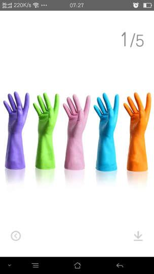 蔓妙 家务手套指尖加厚耐用厨房防水乳胶 手套 洗碗洗衣橡胶手套 薄款胶皮手套 5双装三色随机发送 L码 晒单图