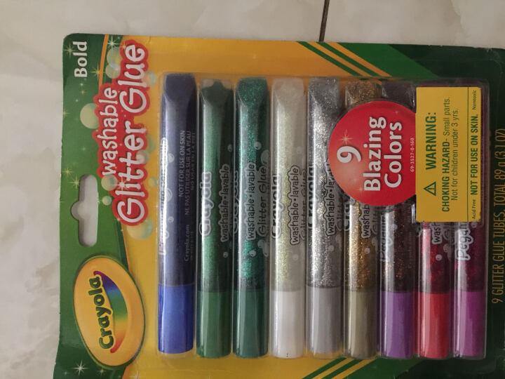 绘儿乐(Crayola)绘画工具 diy玩具 美术工具画笔彩笔 儿童文具 9色可水洗闪光胶笔水彩笔 69-3527 晒单图
