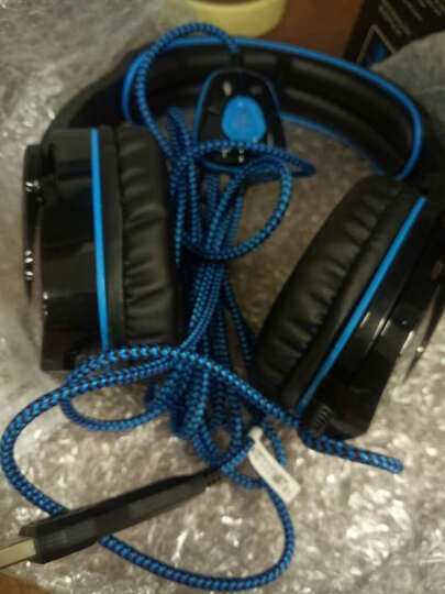 BSN SA901 专业竞技游戏耳机头戴式lol usb电脑耳麦超雷蛇cf 7.1声道 USB头戴式耳机黑蓝 晒单图