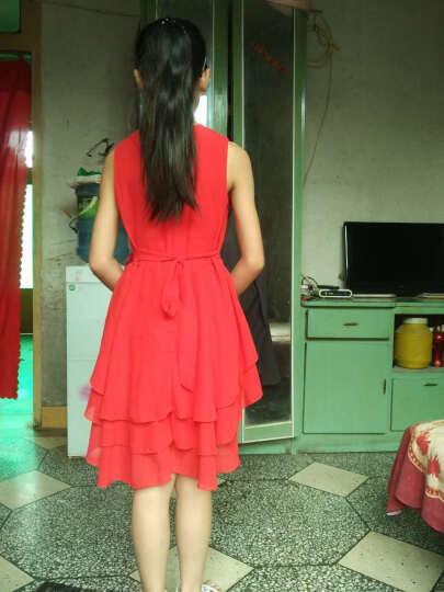 梦之艺 新款女童连衣裙百褶裙儿童舒适透气连衣裙纯色圆领无袖公主裙仙女裙子夏季童装 红色 吊牌130适合120-130cm 晒单图
