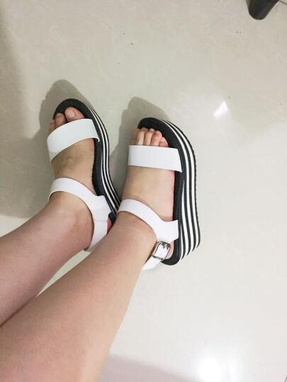 奥康 Aokang 凉鞋露趾一字扣松糕鞋女172823012银色38码 晒单图