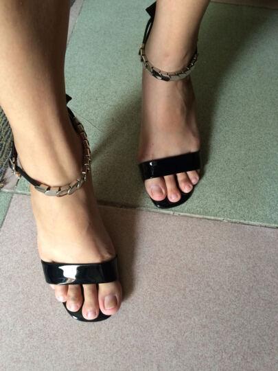 诗秘密凉鞋女2017新品女鞋时尚高跟鞋女OL细跟鱼嘴鞋 M6X228黑色 38 晒单图