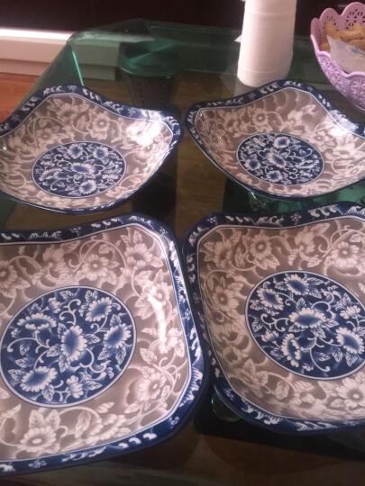 敏杨 套装盘子(4只装)陶瓷盘子菜盘家用水果盘子瓷器中式餐具 菜碟子7/8英寸盘子 8英寸金叶情缘(方盘) 晒单图