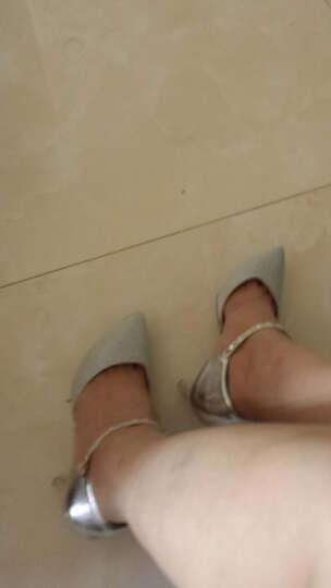 仙宝碟2018春季新款细跟高跟鞋女鞋浅口单鞋女士休闲皮鞋欧美一字扣尖头鞋子女工作鞋新娘婚 金色DHG3676 36 晒单图