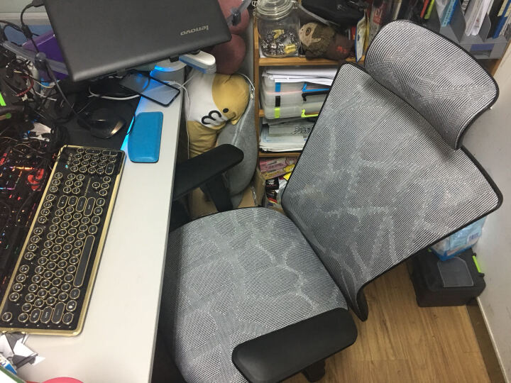 康工电脑椅 人体工学办公椅 博金Y-1-2家用网布椅子 职员椅可躺老板转椅 游戏电竞椅 白框银白网布(现货) 铝合金脚架 晒单图