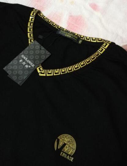 豪朗格 潮牌男装加肥加大码短袖T恤衫胖人流行特肥特大号纯棉体恤肥佬衣服半袖夏装胖子上衣 064黑色 4XL(230斤左右) 晒单图