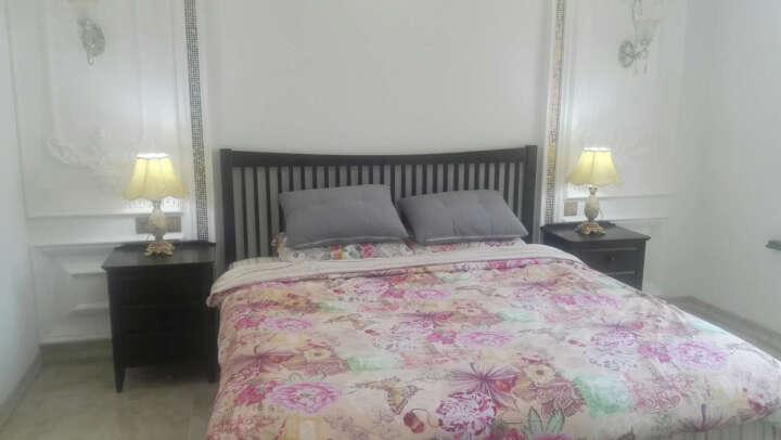 华谊(HUAYI)床 实木床 美式床单双人床1.5米1.8m胡桃色大床 卧室家具 实木框架床 1.8米床 晒单图