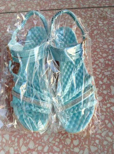 春夏新款女学生凉鞋韩版平底大童少女高中生初中学生平跟女鞋 蓝色 37 晒单图