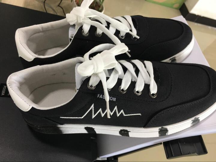休闲鞋男鞋夏季板鞋男士帆布鞋涂鸦个性心电图韩版潮流时尚户外运动青少年学生鞋 7610黑色 41 晒单图