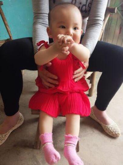 萝茨依2017夏季新品童套装 时尚小童压皱款宝宝两件套 女童吊带短裤套装 一颗珍珠粉色 100cm 晒单图