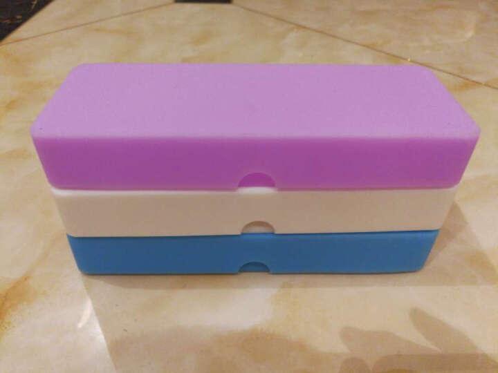 三年二班笔袋 纯色硅胶笔袋男女韩国 长方形笔盒铅笔盒 文具盒送同系列笔QX 紫色不带笔 晒单图