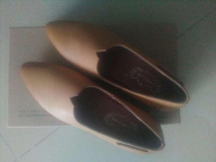 玛菲玛图春复古牛皮单鞋女低跟尖头套脚小白鞋子通勤懒人鞋乐福鞋设计师女鞋1171168 黑皮胚找蜡牛皮/灰猪皮 40 晒单图