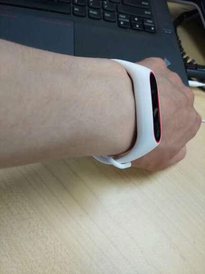 OUMEI 小米手环2腕带 类原装2代替换带非皮革金属 白红 晒单图