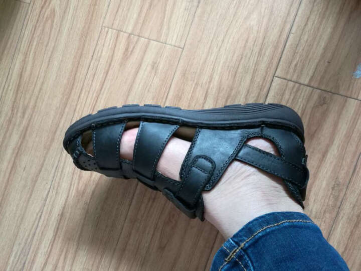 英国[BCS]邦楚仕2019新款凉鞋 男士夏季真皮包头户外沙滩鞋牛皮凉鞋男 13669-1黑色 39 晒单图