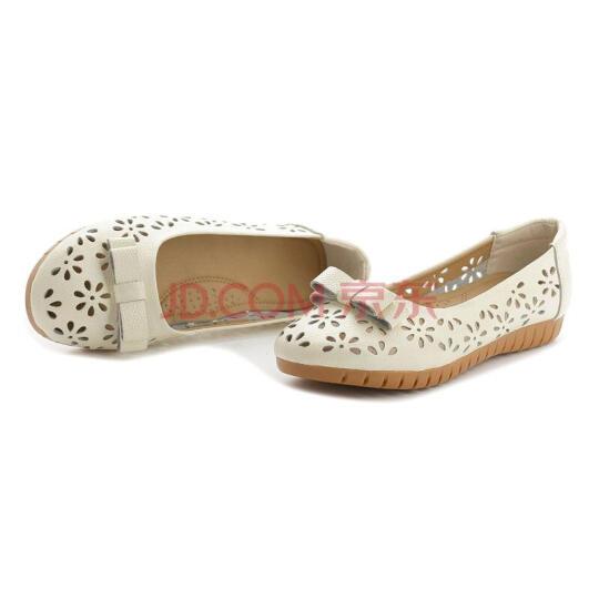华洛威凉鞋女夏季中老年镂空单鞋平底坡跟妈妈洞洞鞋舒适透气休闲鞋子 1088米白色 38 晒单图