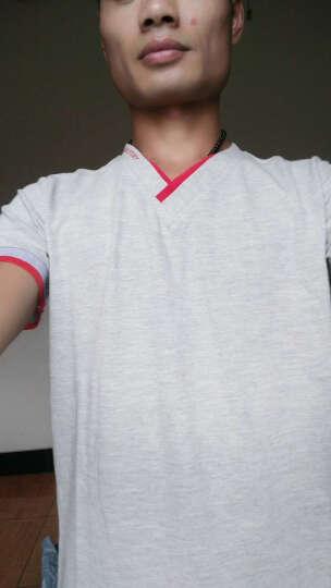 卓爾雷登 短袖T恤男2017春装男新款纯色韩版修身大码衣服印花V领POLO衫男 黑色 L 晒单图