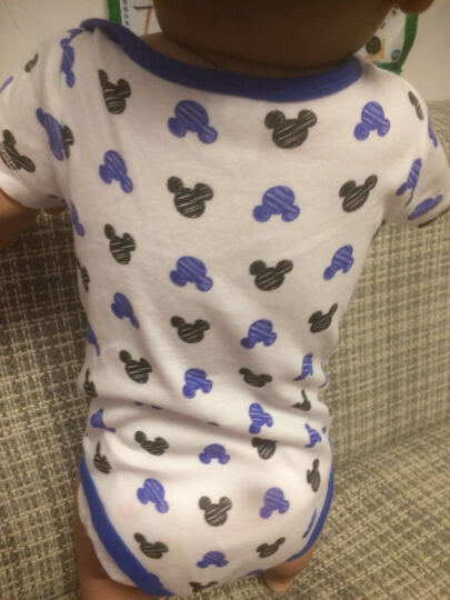 迪士尼宝宝Disney baby婴儿连体衣爬服短袖包屁衣4513420W59白底灰蓝米奇头59码 晒单图