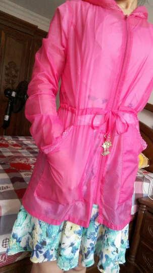 Zeyubird 2019夏新款韩版蕾丝中长款防晒衣女透明户外沙滩衣薄外套大码 玫红 L 晒单图