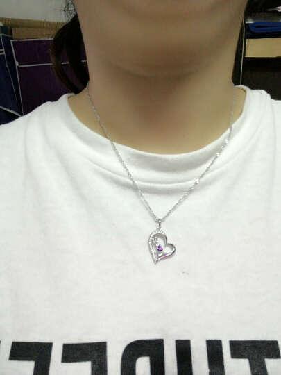SWM 925纯银项链女士款学生吊坠时尚爱心形锁骨链首饰品刻字生日圣诞节礼物 永恒的心 优雅白 晒单图