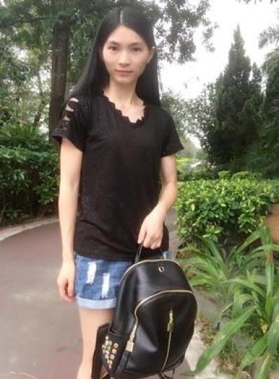 诗曼妮(Shimanni)女包时尚五款款双肩包 水洗皮柳钉简约背包 8806横款拉链 晒单图