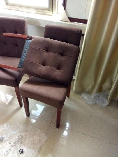 椅拉克 实木餐椅布艺简约餐桌椅子靠背椅书桌木质咖啡椅餐厅实木椅子 1003 竹节绿麻布 晒单图