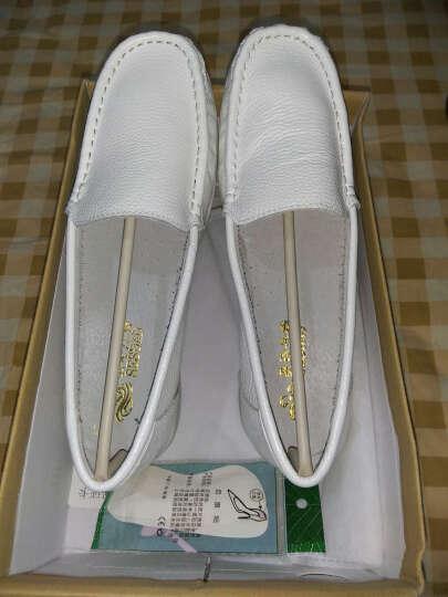 圣诗丹特头层牛皮护士鞋白色牛筋底真皮单鞋坡跟时尚妈妈鞋舒适女鞋0015 白色 38 晒单图
