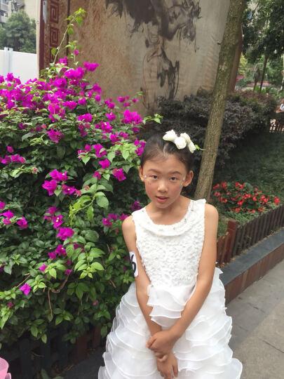女童公主裙儿童礼服夏花童婚纱裙女孩子拖尾晚礼服主持人儿童钢琴表演出服 白色 150 晒单图