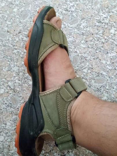 2016新款透气休闲凉鞋沙滩鞋外贸大码凉拖鞋头层男鞋 卡其色 42 晒单图