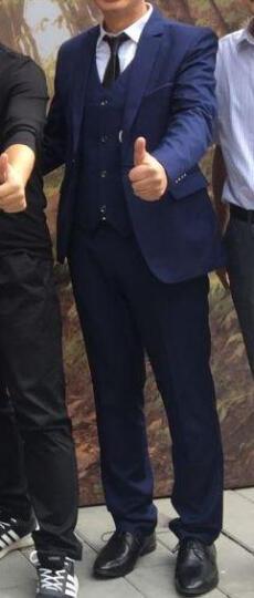 西服男新款男士修身大码小西装新郎礼服职业装休闲正装有套装 蓝色西装+裤子 XL 晒单图