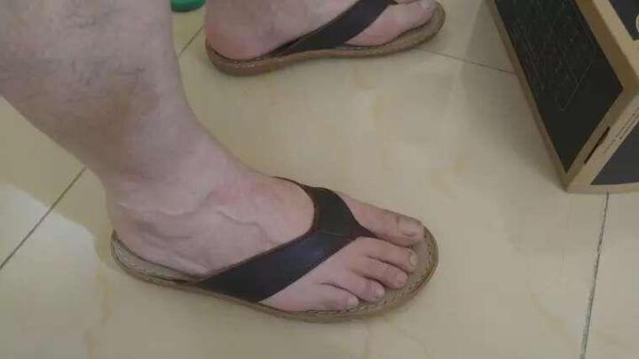 走索拖鞋男士人字拖真皮夏季防滑沙滩休闲凉拖鞋 男 618T深棕色 透气鞋垫 41 晒单图