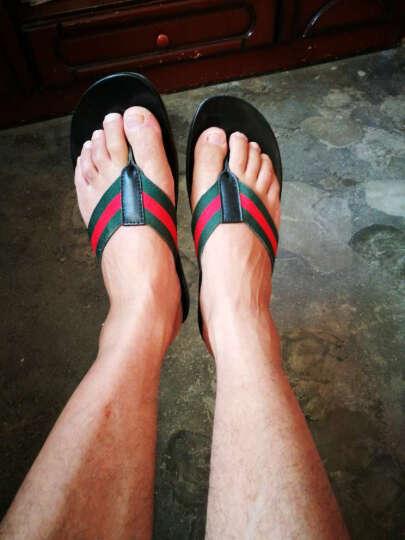 夏季韩版潮流真皮男拖鞋男士夏天沙滩凉拖个性凉鞋室外防滑人字拖 1085黑色 40 晒单图