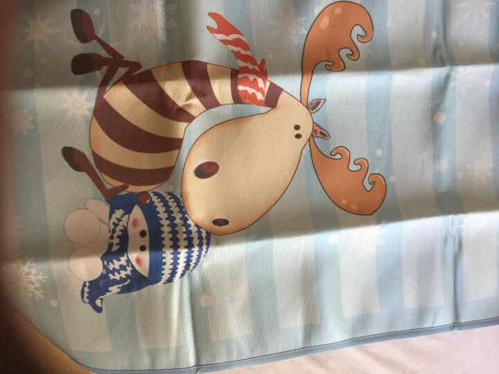 好奇鱼 婴儿凉席 新生儿冰丝凉席 婴儿床凉席 儿童幼儿园宝宝凉席枕头套装120x60cm 雪中麋鹿2件套 晒单图