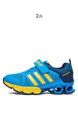大黄蜂 BIG WASP 透气网布鞋 男童运动鞋 女童旅游鞋6-12岁 116318088 浅蓝色-32码 晒单图