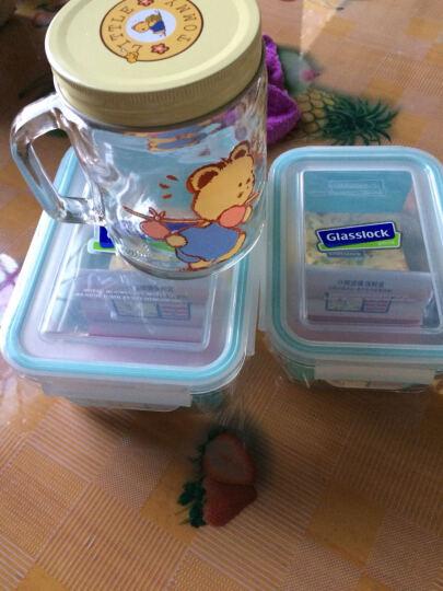 Glasslock 分格保鲜盒钢化玻璃饭盒微波炉碗分隔便当盒两件套670ml+1000ml+包+餐具 晒单图