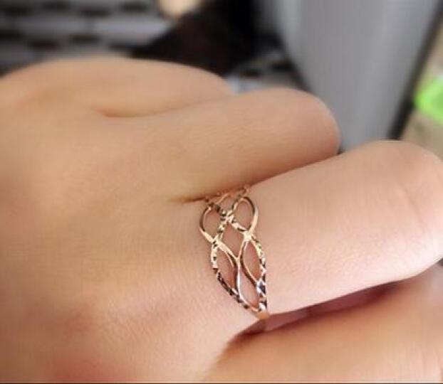 兆泰珠宝  18K金戒指玫瑰彩金戒指k金黄金戒指尾戒时尚韩版女 送女友 C3009 12# 晒单图