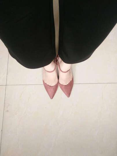 古奇天伦2018新款高跟鞋时尚单鞋优雅圆头一字扣细跟超跟婚鞋女鞋子 粉色 36 晒单图