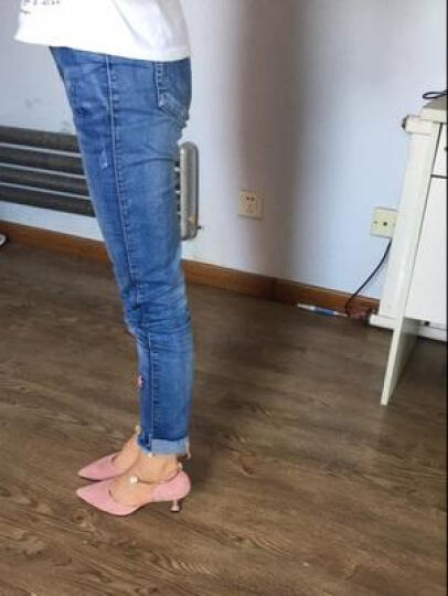 2018春夏新款绑带尖头中高跟凉鞋女羊皮婚鞋包头马丽珍大码鞋子40-41-42小码33 黑色平底 38 晒单图