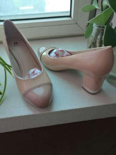 Bata拔佳漆皮高跟鞋圆头粗跟一脚蹬女鞋浅口时尚拼接通勤优雅鞋单鞋女 杏色718-8723 38 晒单图