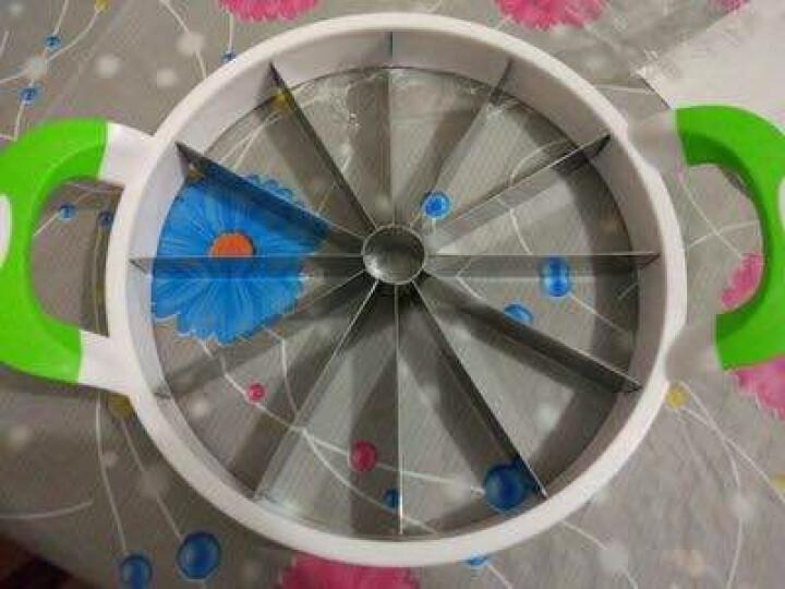 切西瓜神器  不锈钢加厚加大号水果分割器哈密瓜苹果去核切片器 绿色 直径21CM 晒单图