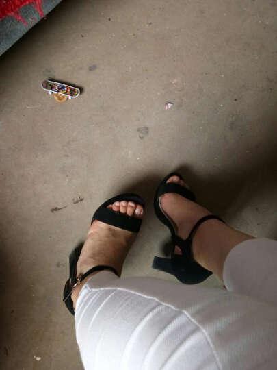 马登凯瑟琳2017冬季新款高跟鞋女圆头粗跟加绒短靴女松紧带纯色女靴防水台女鞋 G3765-1湖蓝色 35 晒单图