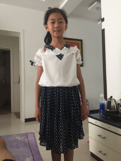 吉兜童装女童套装夏款2017 女大童衣服女孩儿童休闲两件套韩版女童运动卫衣套装 白上衣+藏青波点裙 160(160尺码建议身高150cm) 晒单图