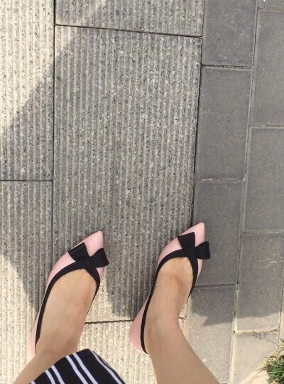 JoyPeace真美诗春季专柜同款时尚简约可爱蝴蝶结女猫跟单鞋ZR711AQ6 粉/黑色 35 晒单图