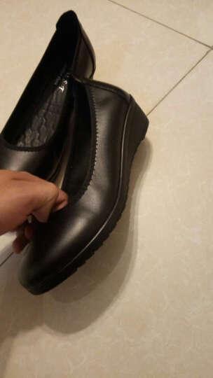 柯奇诺单鞋妈妈鞋新款真皮韩版坡跟单鞋女休闲浅口粗跟女鞋低跟平底工作鞋套脚大码女皮鞋 2599黑色 38 晒单图