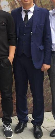 富贵鸟西服男新款男士修身大码小西装新郎礼服职业装休闲正装有套装 蓝色西装+裤子 XL 晒单图
