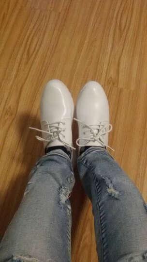 圣诗丹特小白鞋女鞋休闲鞋系带鞋子 女真皮平跟平底小白鞋女平底鞋JQY9915 白色 36 晒单图