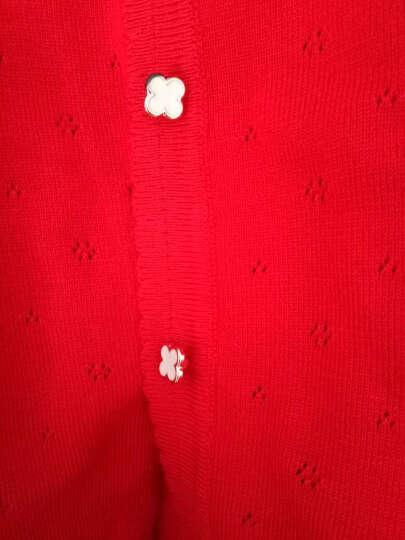 鸿彩鸟 2017新款春装针织衫女士开衫空调衫外套薄款长袖外搭夏季短款女款中长款毛衣夏装韩版 红色 均码 晒单图